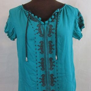Women's ONE WORLD Teal embroidered Top Size PS